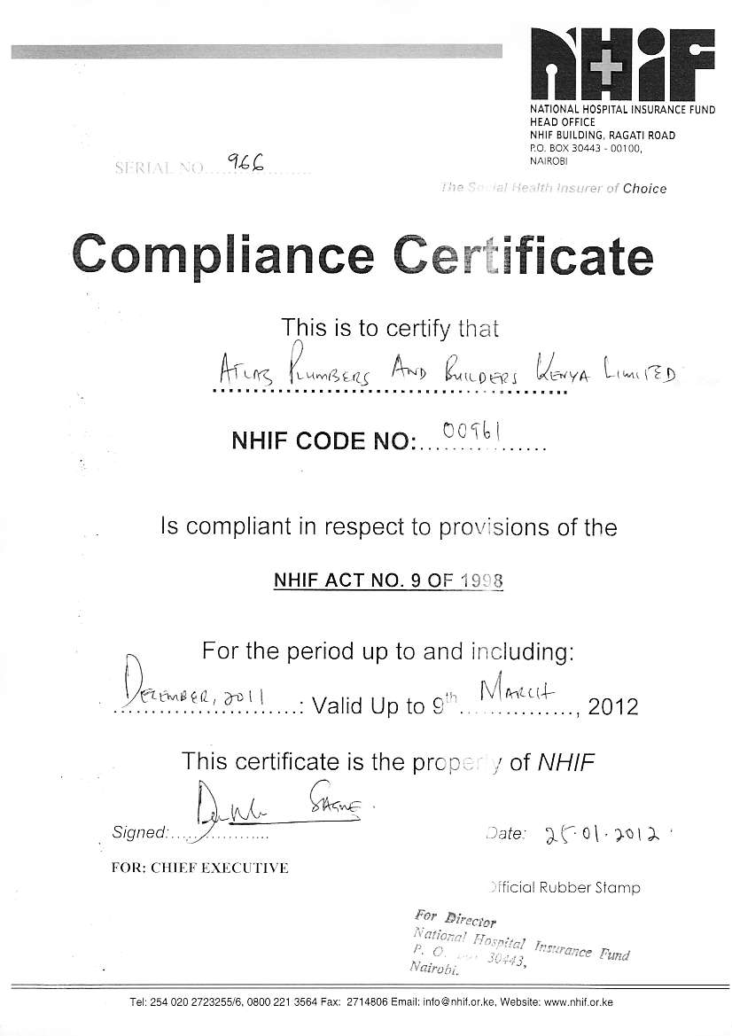 Atlas plumbers and builders nhif compliance certificate view thecheapjerseys Image collections